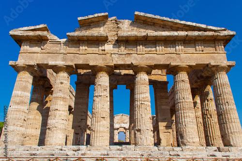 The greek Temple of Hera-II. Paestum, Italy Canvas Print