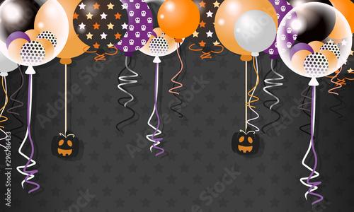 Dark Halloween Balloon In Black Star Background - Vector Canvas Print