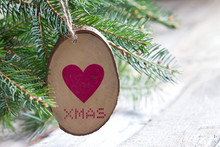 Wooden Adornment With Heart An...