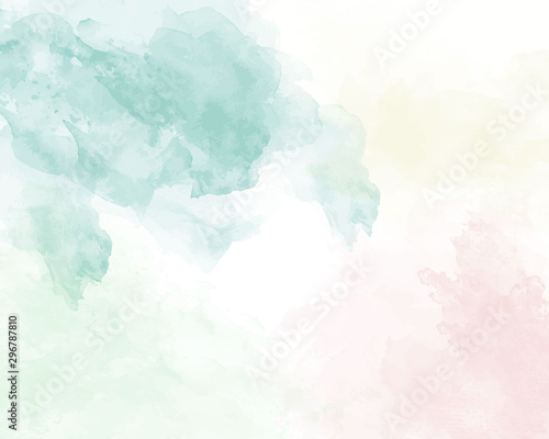 Fototapety, obrazy: Blue soft watercolor abstract texture. Vector illustration.
