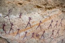 San Bushman Rock Painting Of A...