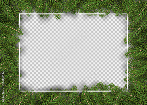 Obraz christmas fir tree border for decor and picture frame vector illustration.  - fototapety do salonu