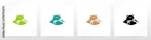 Frog On A Leaf Logo Design Canvas Print