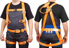 Man In Orange Safety Climbing Harness Isolated On White Background