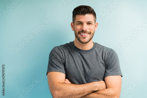 Fotomural  Attractive Hispanic Male In Studio