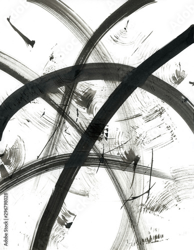 Black and White Background. Abstract black dry brush strokes texture. Contemporary Art Work.