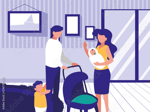 Fototapety, obrazy: couple of parents and children in living room