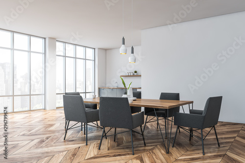 Fotomural  White dining room and kitchen corner