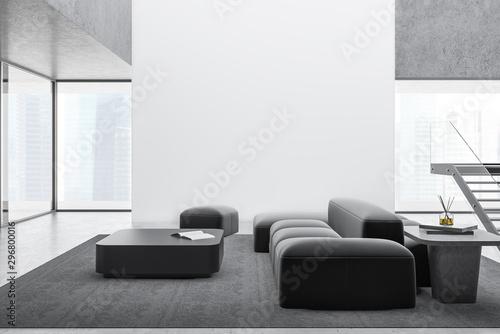 Obraz Modern living room with sofa and mock up wall - fototapety do salonu