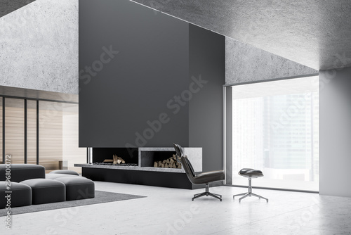 Obraz Minimalistic gray living room with fireplace - fototapety do salonu