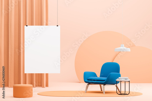 Peach living room with blue armchair and poster Slika na platnu