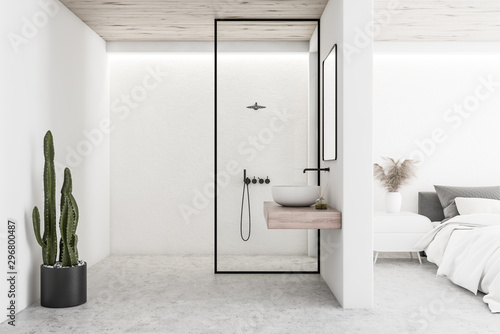 Papel de parede White bedroom interior with bathroom and shower
