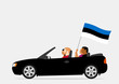 People in car with estonian flag