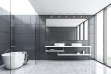 Gray Tile And Glass Bathroom W...
