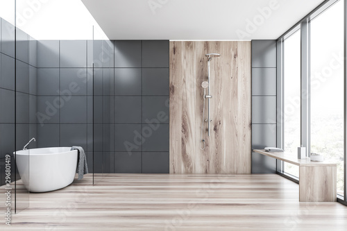 Fotomural Gray tile and wood bathroom with tub and shower