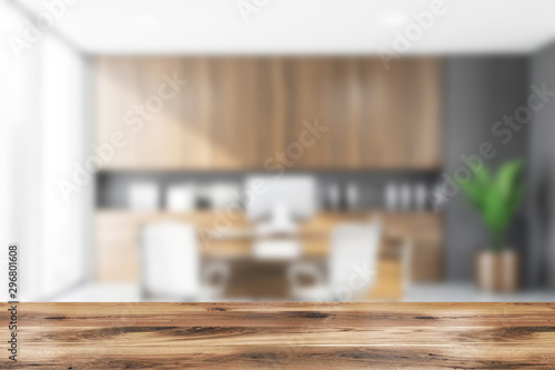 Obraz Table in blurry gray CEO office - fototapety do salonu