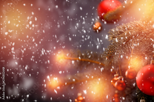 Tuinposter Heelal Snowy glittering winter landscape with space for products and decorations. Happy Christmas time.