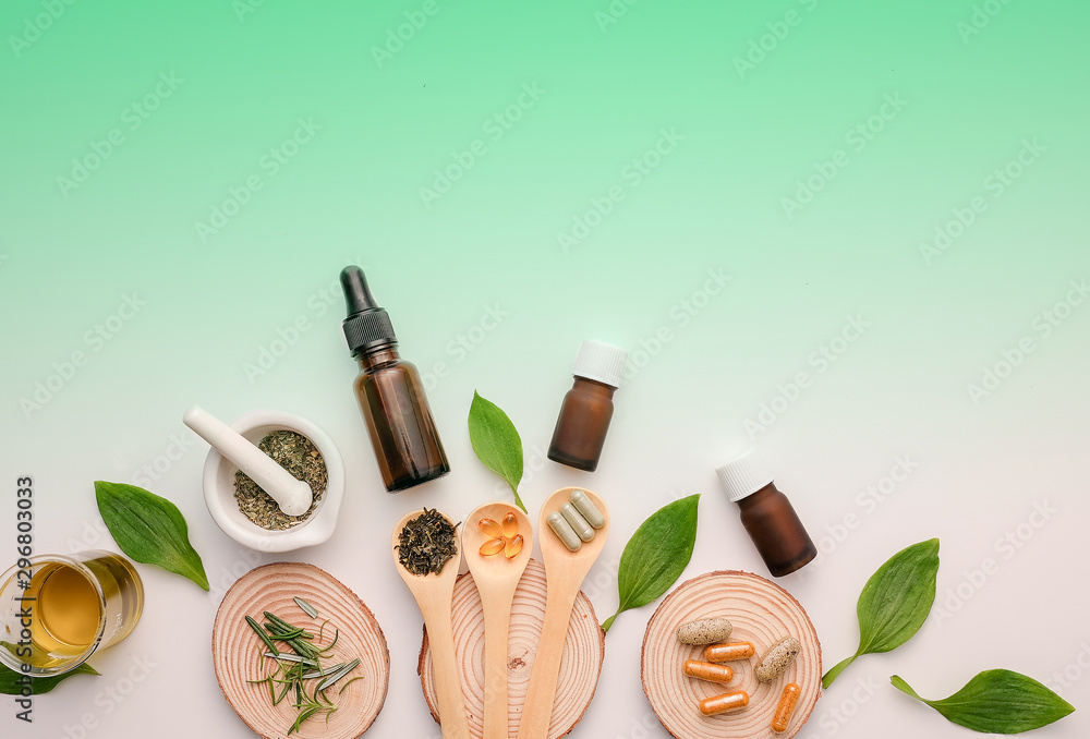 Fototapety, obrazy: natural medicine for health and wellness. homeopathy and apothecary  concept.