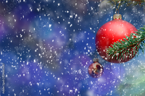 Montage in der Fensternische Dunkelblau Snowy glittering winter landscape with space for products and decorations. Happy Christmas time.