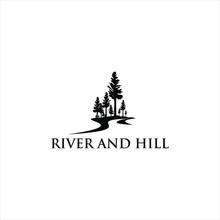 River Valley Logo Black Pine Tree Vector Silhouette Illustration For Landscape Design Or Print Art Template