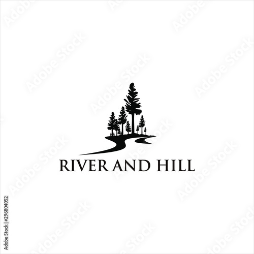 Obraz river valley black pine tree vector silhouette illustration for landscape logo design or print art template - fototapety do salonu