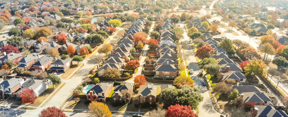 Fototapety, obrazy: Aerial view row of new house with cul-de-sac (dead-end) and bright orange color fall foliage near Dallas