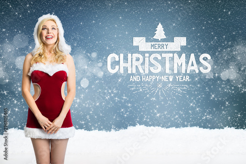 Foto auf Gartenposter Individuell attractive blonde miss santa with
