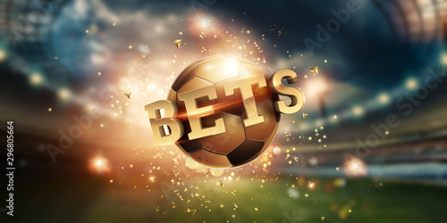 Gold Lettering Bets with golden ball and stadium background Fototapet