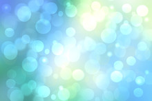 Abstract Bright Gradient Motion Spring Or Summer Landscape Texture Background With Natural Blue Green Bokeh Lights And Blue Bright Sunny Sky. Beautiful Backdrop With Space For Design.