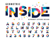 Vector Of Geometric Alphabet Letters And Numbers, Modern Colorful Triangle Letter