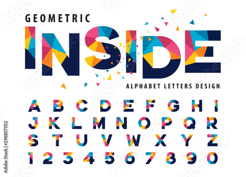 Fotografiet Vector of Geometric Alphabet Letters and numbers, Modern Colorful Triangle Lette
