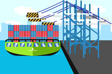 Results Of Images Of Ships Containing Tons Of Cargo At The Crossing Are Handled At The Port Dock Illustration Vector