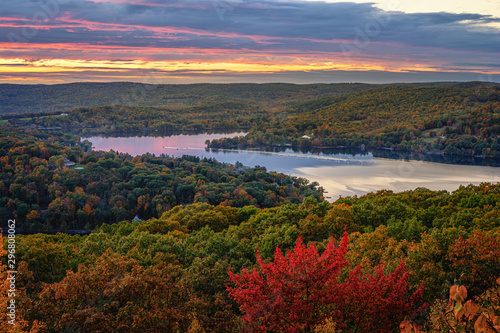 Fall scenic view of the rolling hills of Connecticut. The Northeast