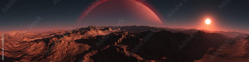 Obraz Panorama of an alien landscape. Sunset on Mars. Alien sunset. 3d rendering. fototapeta, plakat