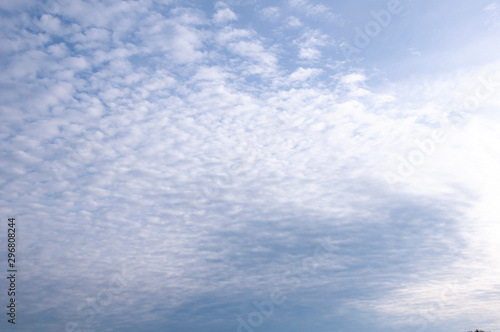 Blue sky and white cirrus clouds Canvas Print