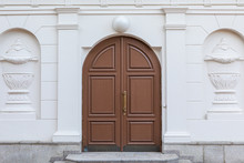 Double Wooden Door With Granit...