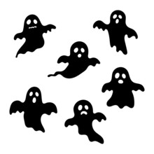Happy Halloween Ghosts Black Set Icons. Scary, Spirit Isolated On White Background. Vector Illustration.
