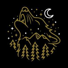 Animal Wolf Night Line Graphic...