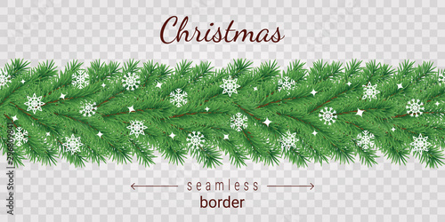 obraz lub plakat Christmas tree horizontal seamless border on transparent background.