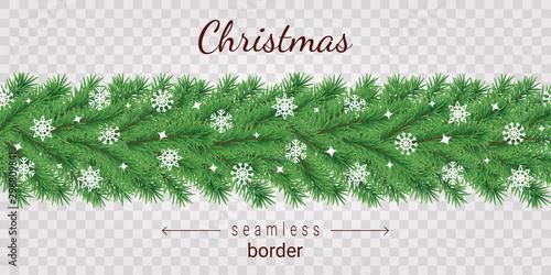 fototapeta na ścianę Christmas tree horizontal seamless border on transparent background.