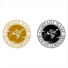 Modern Stork Logo For Stamp
