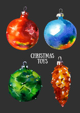 Christmas Toys. Funny Pictures Watercolor With The Image Of Christmas Toys