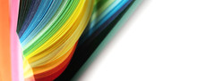 Abstract Gradient Rainbow Color Wave Curl Strip Paper Background.