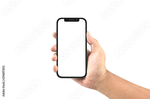hand holding black smartphone with blank screen isolated on white Fototapet