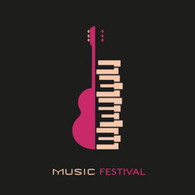 Guitar And Piano Hand Drawn Flat Colorful Music Vector Icon