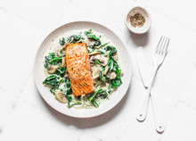 Roasted Salmon With Creamy Spi...