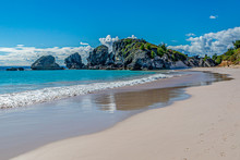 The Idyllic Sandy Beach At Horseshoe Bay On The Island Of Bermuda