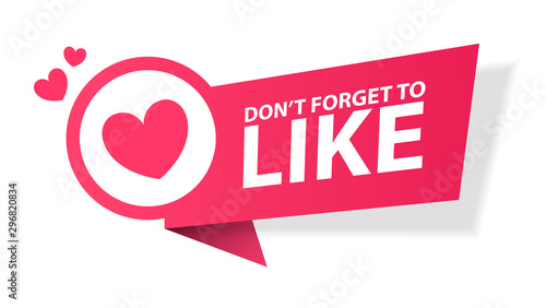 Cuadros en Lienzo Vector illustration Don't forget to Like button red sign, flat modern label, heart icon