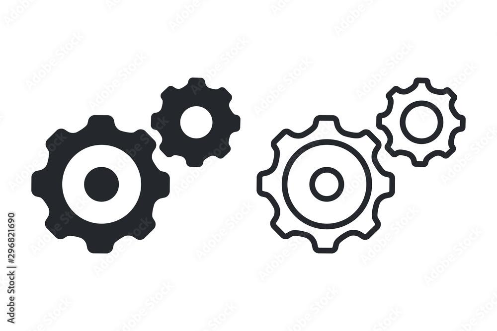 Fototapety, obrazy: Gear Icon Vector Template, Flat Design Engineering Cogwheel. Business process icon, work mechanics. Development icon.