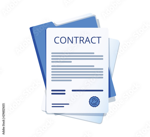 Obraz Contract signing. Contract agreement memorandum of understanding legal document stamp seal, concept for web banners - fototapety do salonu